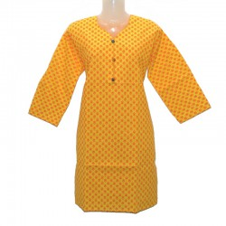 Indian cotton tunic size 10 us - Yellow and orange