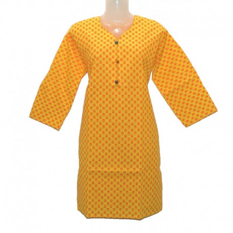 Indian cotton tunic size 10 us - Yellow and orange