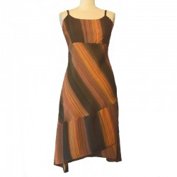 Asymmetrical dress in viscose gradiant color orange and green
