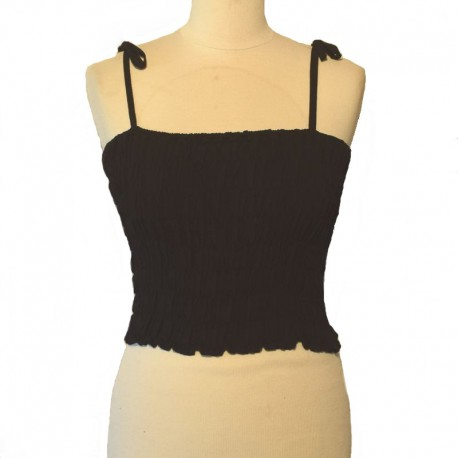 Smocked rayon top with straps - Black