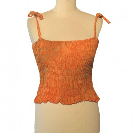 Smocked rayon top with straps - Orange