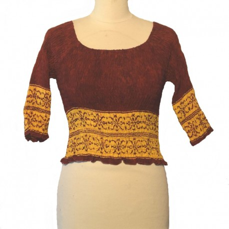 Top elastic smocked 3/4 sleeves - Maroon