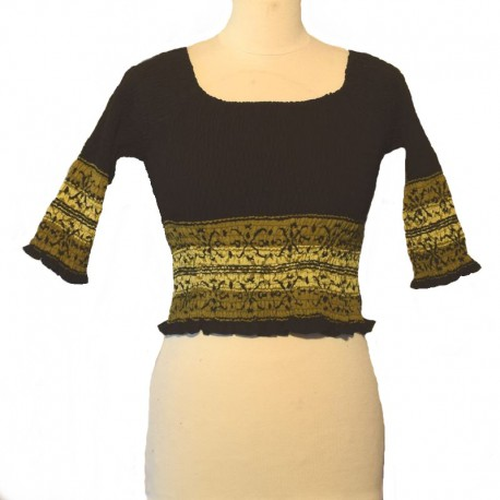 Top elastic smocked 3/4 sleeves - Black
