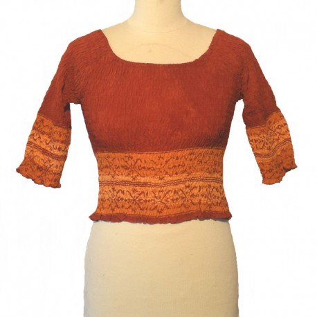 Top elastic smocked 3/4 sleeves - Orange