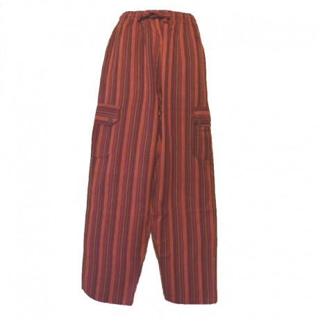 Striped cotton trousers Nepal - S - Maroon