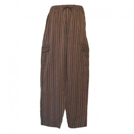 Pantalon rayé coton Népal - Taille S - Marron