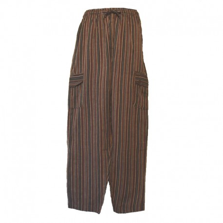 Striped cotton trousers Nepal - S - Brown