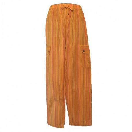 Pantalon rayé coton Népal - Taille L - Orange clair