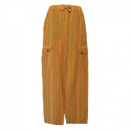 Pantalon rayé coton Népal - Taille XL - Jaune