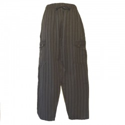Pantalon rayé coton Népal - Taille XL - Noir