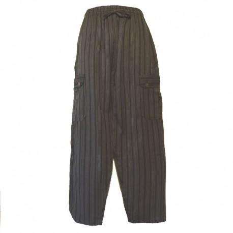 Striped cotton trousers Nepal - XL - Black