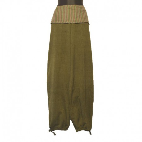 Pantalon rabat uni ton sur ton - Vert