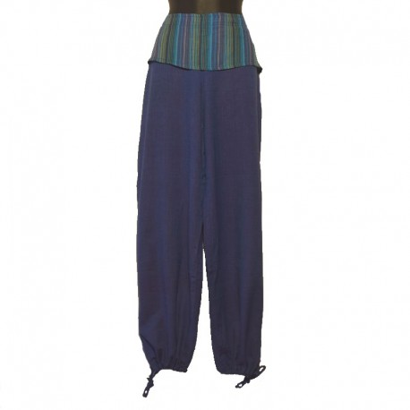 Pants flap plain tone on tone - Blue