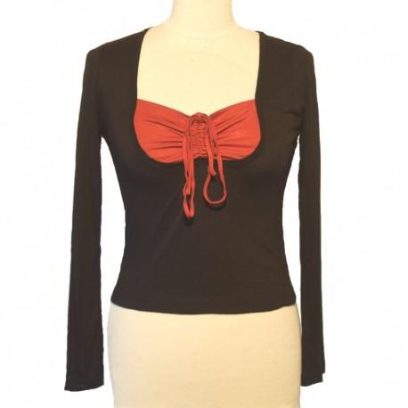 Top bicolore manches longues - Noir et rouge