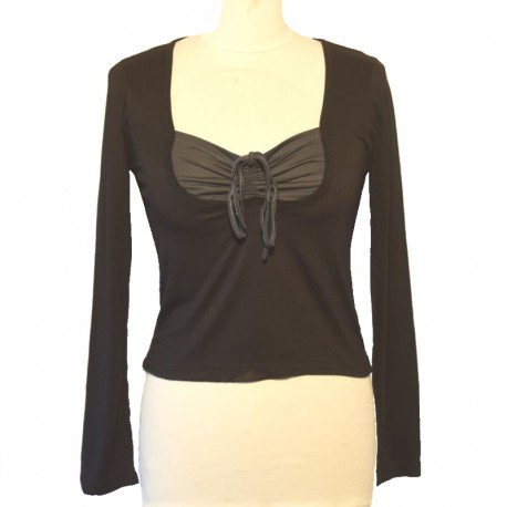 Top two-color long sleeve - Black and dark green