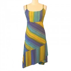 Asymmetrical dress in rayon - Brown, orange and green