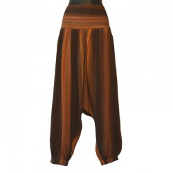 Plain long harem pants - Brown and orange