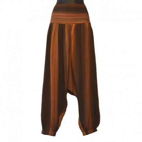 Plain long harem pants - Brown and orange