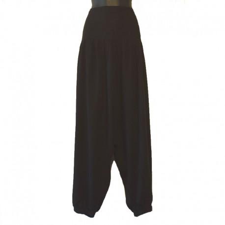 Plain long harem pants - Black
