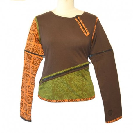 Long sleeves tee shirt with zip - Brown, green and orange