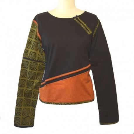 Long sleeves tee shirt with zip - Black, orange and green