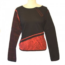Long sleeves tee shirt with zip - Black, red and brown