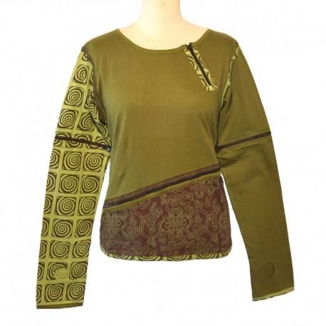 Tee shirt manches longues zippées - Vert, marron et vert clair