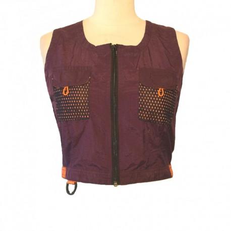 Vest short sleeveless parachute silk - Purple and orange