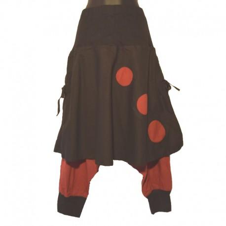 Sarouel ethnique coton avec jupe - Noir et rouge