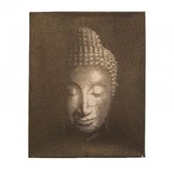Peinture sur toile 19,5x25 cm - Tête de Bouddha argentée