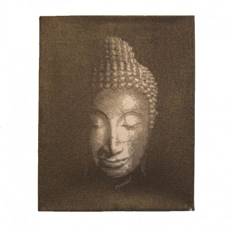 Painting on canvas 19,5x25 cm - silver Buddha head