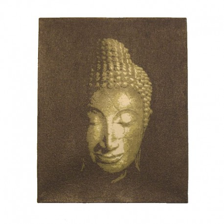 Painting on canvas 19,5x25 cm - golden Buddha head