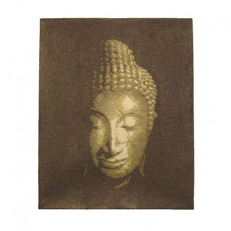 Peinture sur toile 19,5x25 cm - Tête de Bouddha dorée
