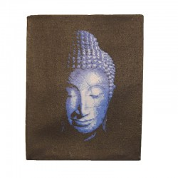 Painting on canvas 19,5x25 cm - Buddha head blue color