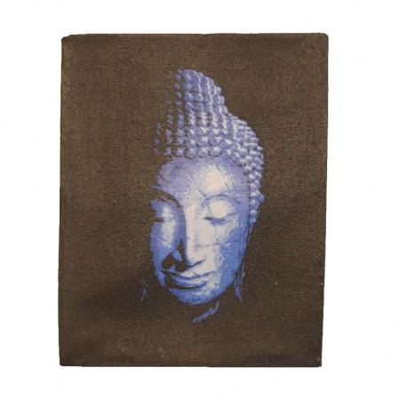 Peinture sur toile 19,5x25 cm - Tête de Bouddha bleu