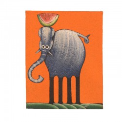 Painting naive animals 19,5x25 cm - Elephant orange background