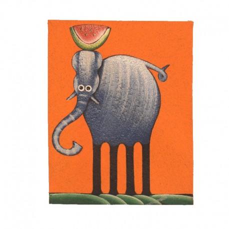 Tableau naïf animaux 19,5x25 cm - Eléphant fond orange