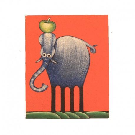 Tableau naïf animaux 19,5x25 cm - Eléphant fond corail