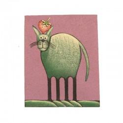 Tableau naïf animaux 19,5x25 cm - Chat fond parme