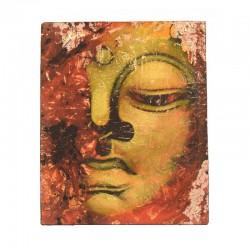 Peinture sur toile 19,5x25 cm - Visage Bouddha abstrait rouge