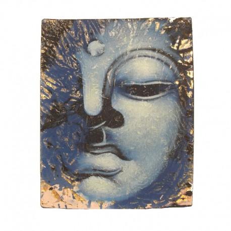 Peinture sur toile 19,5x25 cm - Visage Bouddha abstrait bleu