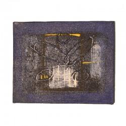Peinture sur toile 19,5x25 cm - Abstrait fond bleu