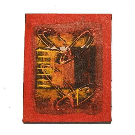 Painting on canvas 19,5x25 cm - Abstract red background