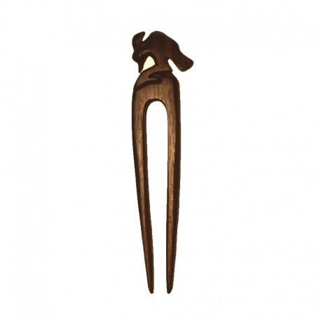 Double Hair stick Woodpecker wood Ebony