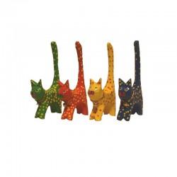4 Chats H11 cm en bois peint colorés et tachetés