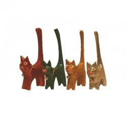 4 Chats H11 cm en bois peint colorés et pailletés