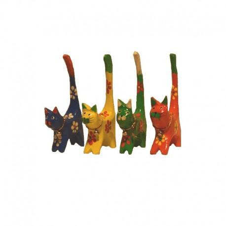 4 Chats H11 cm en bois peint colorés fleurs