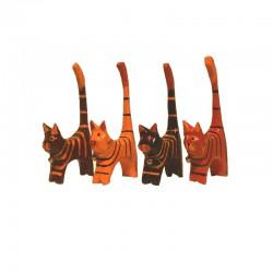 4 Chats H11 cm en bois peint tigrés marron