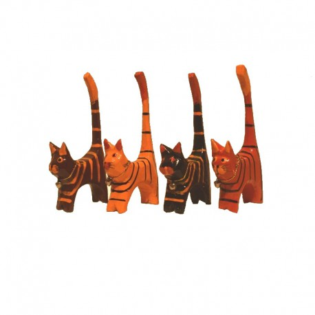 4 Cats H11 cm wood painted brown tabby