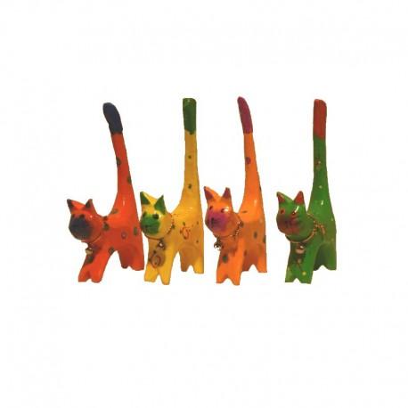 4 Chats H11 cm en bois peint colorés